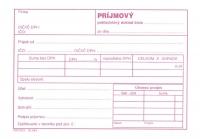 Príjmový pokladničný doklad s DPH (A6, blok 100listov, biely papier)