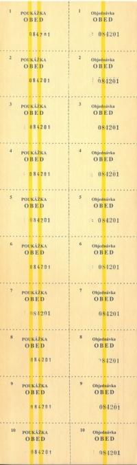 Stravenka - 1000 lístkov na obed, číslované