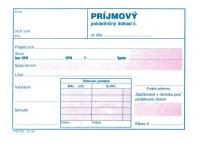 Príjmový pokladničný doklad dvojfarebný, biely papier, blok A6