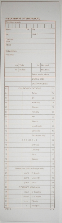 Biochemické vyšetrenie moču (blok, 100 listov)
