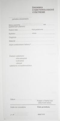 Žiadanka o bakteriologické vyšetrenie