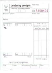 Lekársky predpis (recept) biely, nelepený, 100 listov