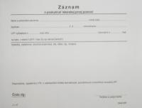 Záznam o poskytnutí lekárskej prvej pomoci (blok A5, 100 listov)