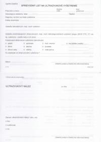 Sprievodný list na ultrazvukové vyšetrenie A5
