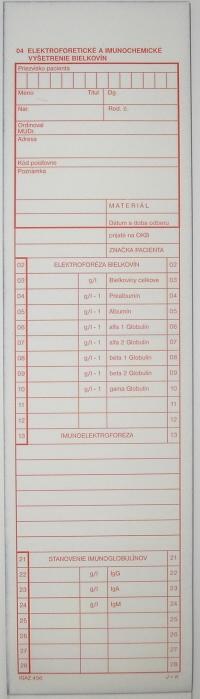Elektroforetické a imunochemické vyšetrenie bielkovín (blok 100 listov, samoprepisovací)