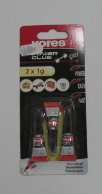 Super glue Kores 3x1g gel sekundové lepidlo