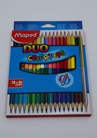 Farebné ceruzky Maped Duo 36 farieb/18 ks